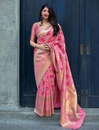Pretty pink hue semi silk saree