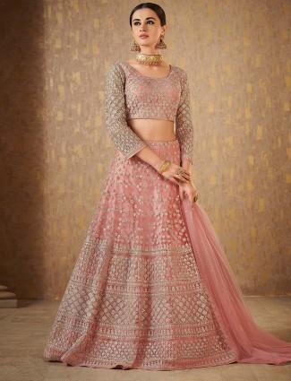 Pretty pink net fabric designer lehenga choli