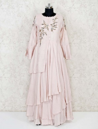 Pretty pink raw silk floor length gown