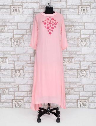 Pretty pink satin party wear kurti for women