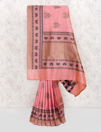 Pretty pink wedding saree in banarasi semi silk