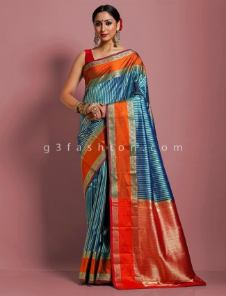 Pretty pure kanjivaram silk designer saree in blue
