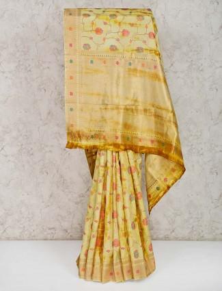 Pretty yellow banarasi silk wedding saree