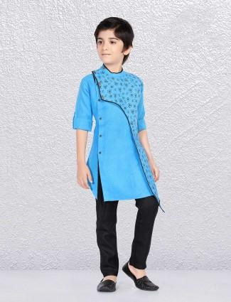 Printed aqua color cotton kurta suit