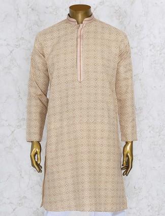 Printed beige color cotton fabric kurta suit