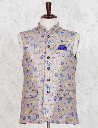 Printed beige cotton jute party waistcoat