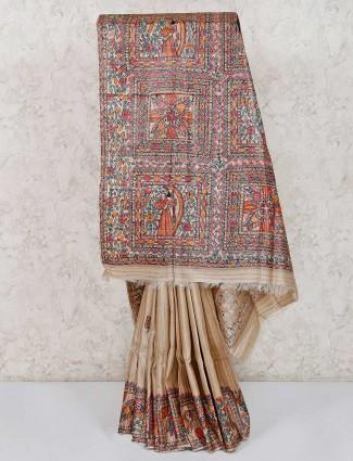 Printed beige tussar silk saree
