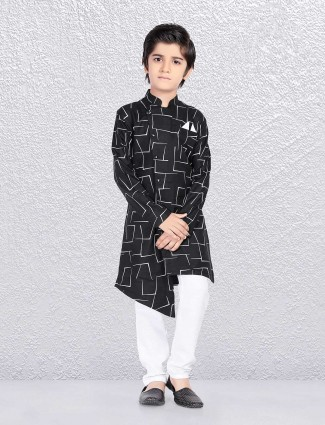 Printed black cotton kurta suit