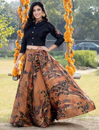 Printed black cotton lehenga choli for party