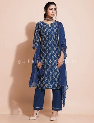 Printed blue cotton festive pant style salwar suit