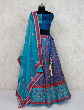 Printed blue semi stitched silk lehenga choli