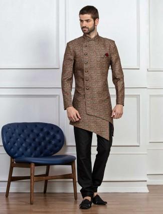 Printed brown silk indo western
