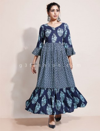 Printed classic navy cotton casual kurti