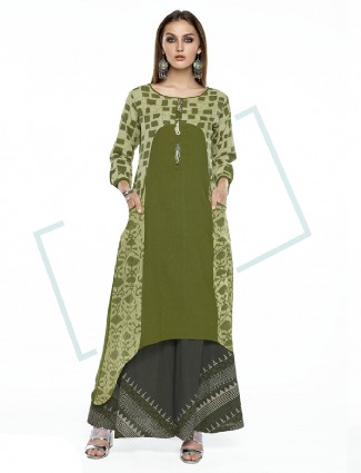 Printed cotton green palazzo suit
