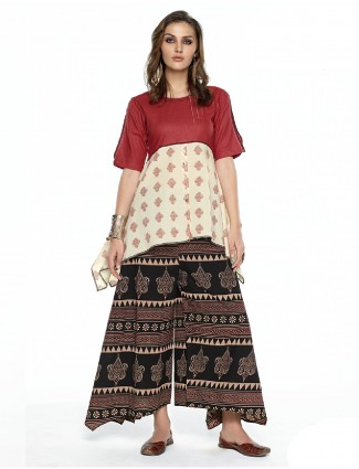 Printed festive wear red and cream palazzo suit