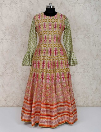 Printed green cotton silk anarkali suit for party
