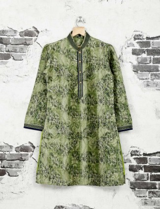 Printed green kurta suit for boys
