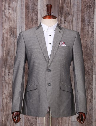 Printed grey coat suit in terry rayon fabric