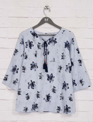 Printed grey cotton casual get together top
