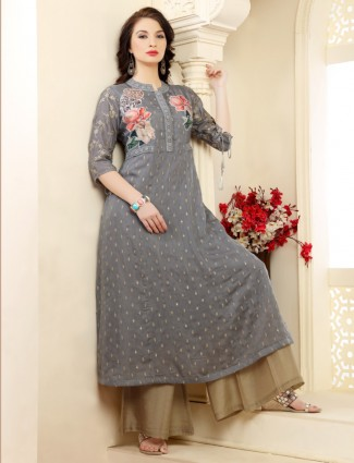 Printed grey cotton casual kurti