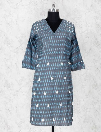 Printed grey cottton fabric kurti