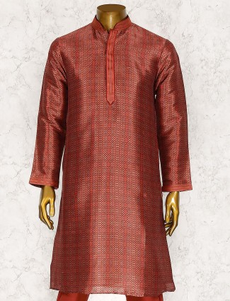 Printed hued maroon color kurta suit