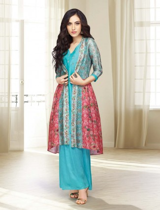 Printed jacket style punjabi palazzo suit in aqua color