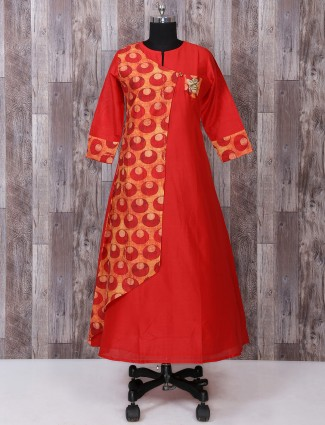 Red color printed long kurti