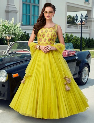 Printed lemon yellow party or wedding anarkali suit