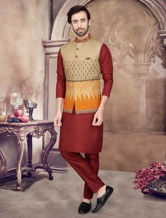 Printed maroon cotton silk mens waistcoat set