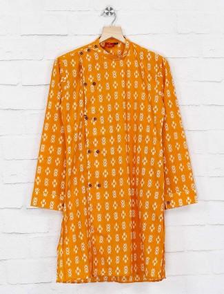 Printed mustard yellow cotton kurta suit