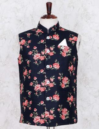 Printed navy color linen waistcoat