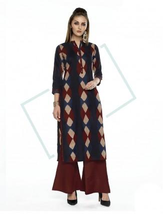 Printed navy cotton salwar suit