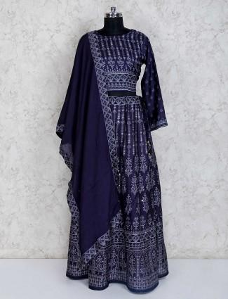 Printed navy cotton silk lehenga choli