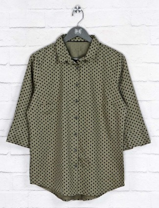 Printed olive cotton long shirt