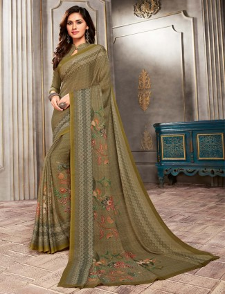 Printed olive crepe regular wear saree