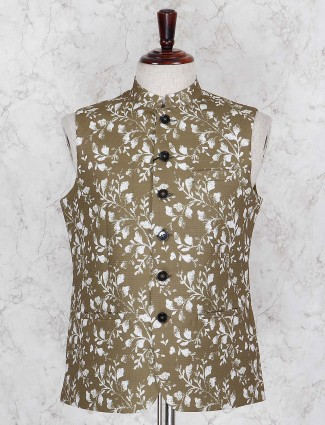 Printed olive terry rayon fabric waistcoat