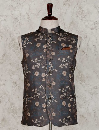 Printed olive terry rayon party waistcoat