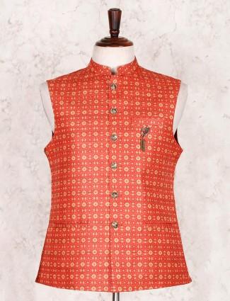 Printed orange cotton silk waistcoat