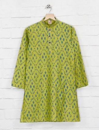 Printed parrot green cotton fabric kurta suit