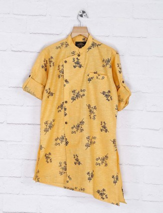 Printed pattern boys mustard yellow kurta suit
