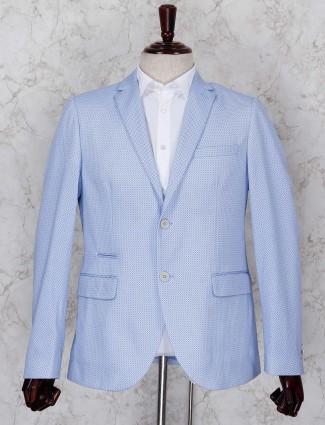 Printed pattern sky blue terry rayon blazer