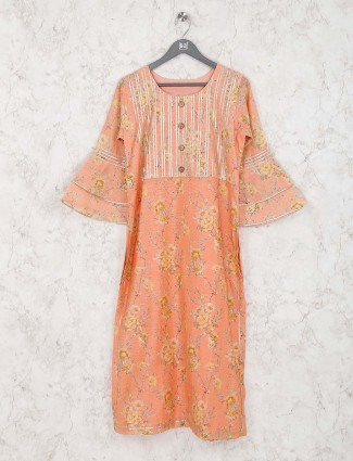 Printed peach color cotton silk casual kurti