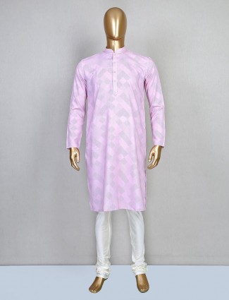 Printed pink cotton festive wear kurta suit
