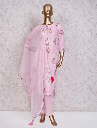 Printed pink festive wear cotton pant suit