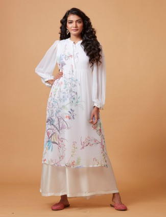 Printed pure georgette white kurti