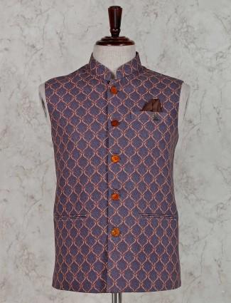 Printed purple terry rayon waistcoat