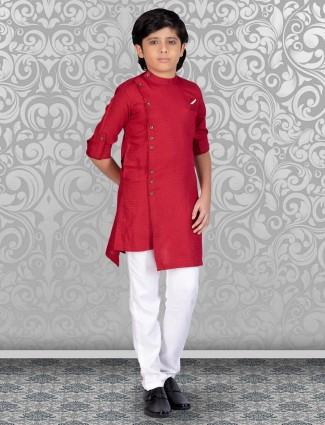 Printed red designer kurta with churidar