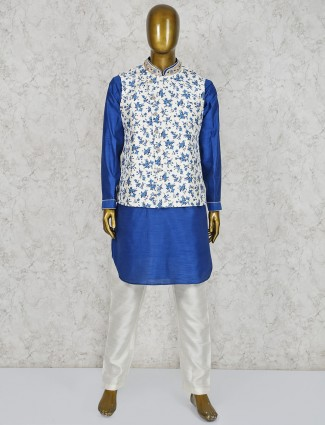 Printed silk fabric white and blue waistcoat set