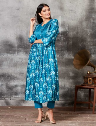 Printed teal blue raw silk punjabi salwar suit